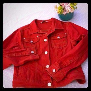 Cabi red denim jacket blazer